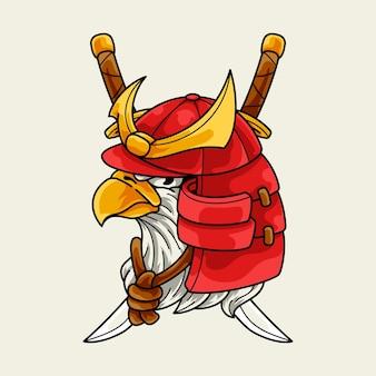 Cabeça de águia com capacete de samurai japonês