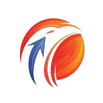 Cabeça de águia com design de logotipo de seta
