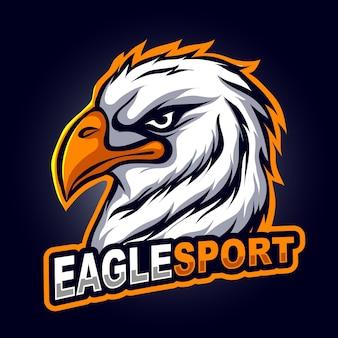 Cabeça de águia com raiva, mascote para ilustração vetorial de logotipo de esportes e esportes esportivos