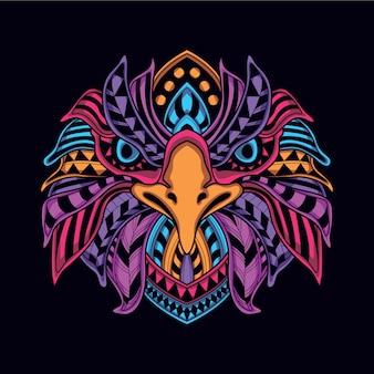 Cabeça de águia decorativa na cor neon de brilho