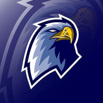 Cabeça de águia mascote logotipo e-sport design