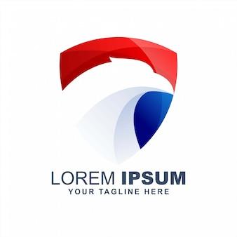 Cabeça de águia moderna design de logotipo americano