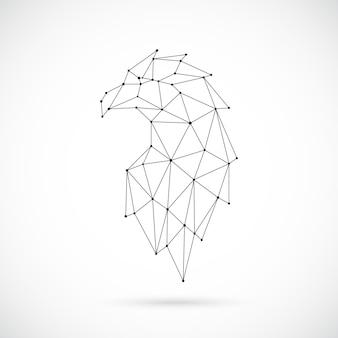 Cabeça de águia poligonal abstrata