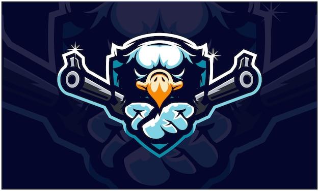 Cabeça de águia segurando duas armas,