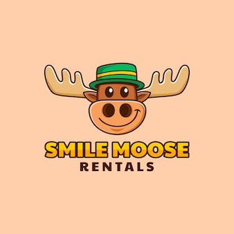 Cabeça de alce dos desenhos animados com design de logotipo boné verde