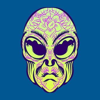 Cabeça de alienígena com ilustração de tatuagem para personagem de elemento de logotipo distintivo