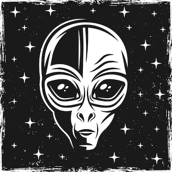 Cabeça de alienígena em fundo escuro com estrelas