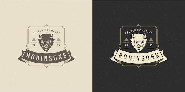 Cabeça de bisonte logotipo emblema ilustração silhueta para camisa ou carimbo de impressão