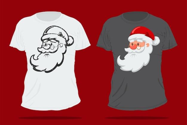 Cabeça de bonito dos desenhos animados de papai noel. modelo de t-shirt de natal.
