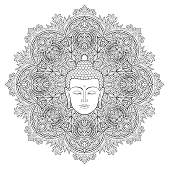 Cabeça de buda em fundo de mandala redonda floral sinal para tatuagem de impressão têxtil e amuletos