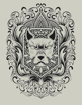 Cabeça de cachorro com gravura enfeite