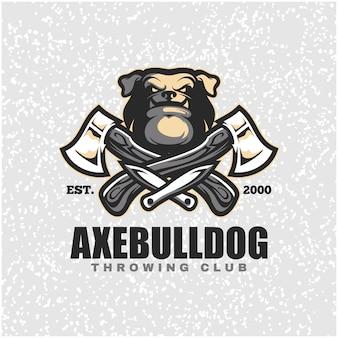 Cabeça de cachorro com machados e facas, logotipo do clube de arremesso.