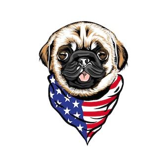 Cabeça de cachorro pug usando bandana de pescoço com bandeira americana