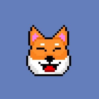 Cabeça de cachorro shiba com estilo pixel art