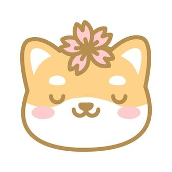 Cabeça de cachorro shiba fofa com uma pilha de flores de cerejeira na cabeça