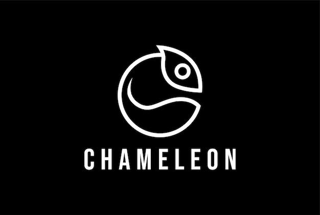 Cabeça de camaleão circular minimalista simples para vetor de design de logotipo de vestuário de moda