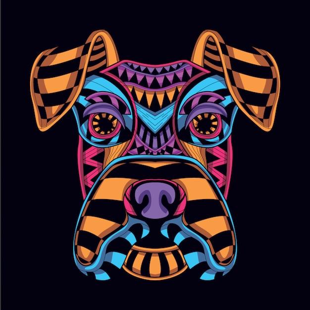 Cabeça de cão decorativa da cor neon