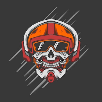 Cabeça de capacete de crânio de robô