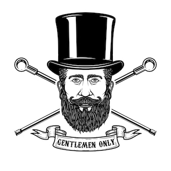 Cabeça de cavalheiro barbudo no chapéu vintage. elementos para cartaz, emblema, sinal, etiqueta. ilustração