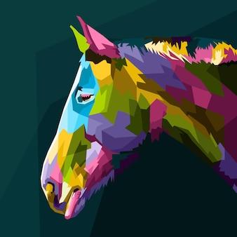 Cabeça de cavalo colorida com arte pop geométrica abstrata