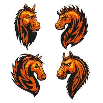 Cabeça de cavalo em forma de fogo com crina espinhosa e espinhosa. emblemas heráldicos estilizados de garanhão flamejante furioso para clube esportivo, emblema do time, etiqueta, tatuagem
