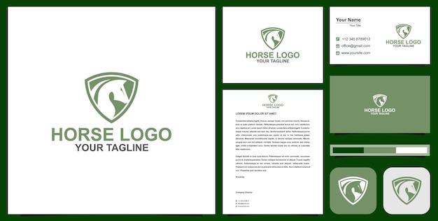 Cabeça de cavalo no logotipo do escudo com cartão de visita