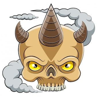 Cabeça de caveira com personagem de desenho animado de chifre de ilustração