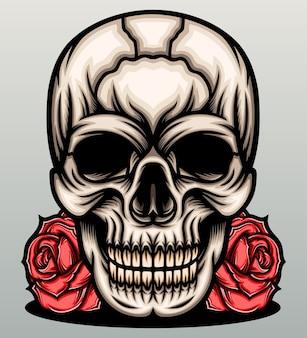 Cabeça de caveira com rosas vermelhas.