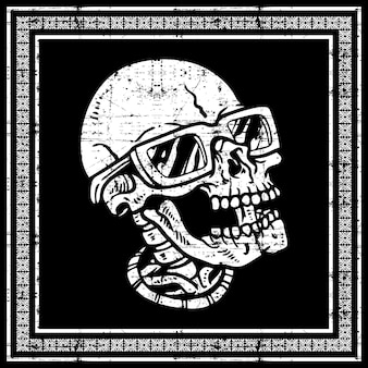 Cabeça de caveira de estilo grunge usando óculos. desenho à mão, desenhos de camisa, motociclista, disco-jóquei, cavalheiro, barbeiro e muitos outros. isolado e fácil de editar. ilustração