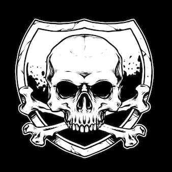 Cabeça de caveira de osso cruzado com ilustração de escudo