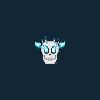 Cabeça de caveira de pixel com olhos de chama azul