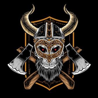 Cabeça de caveira de viking com machado