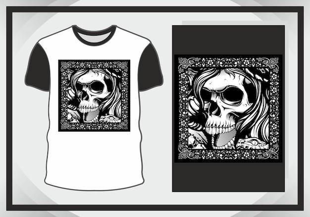 Cabeça de caveira, ilustração escura para design de t-shirt