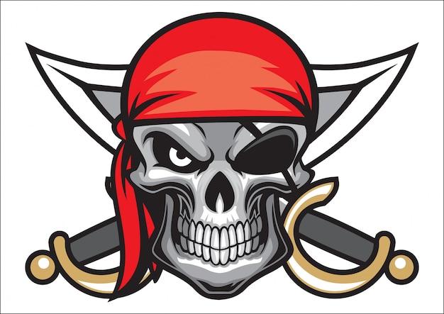 Cabeça de caveira pirata com espada cruzada