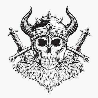 Cabeça de caveira viking com ilustração de capacete