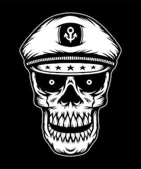 Cabeça de caveira vintage com chapéu de capitão. vetor premium