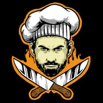 Cabeça de chef com facas e chapéu de chef