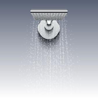 Cabeça de chuveiro com gotas de água realista. chuveiro de água espirrando no banheiro
