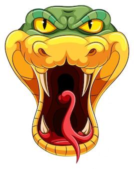 Cabeça de cobra com uma longa língua bifurcada