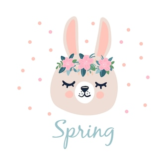 Cabeça de coelho cinza com olhos fechados e uma coroa de flores