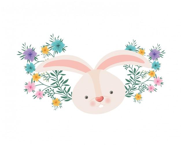 Cabeça de coelho com ícone isolado de flores