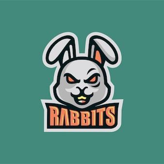 Cabeça de coelho com raiva esportss logotipo mascote vector illustration