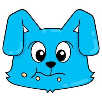 Cabeça de coelho de rosto azul animado mastigando comida, emoticon de caixa de ilustração vetorial. desenho do ícone do doodle