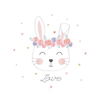 Cabeça de coelho fofo com coroa de flores.