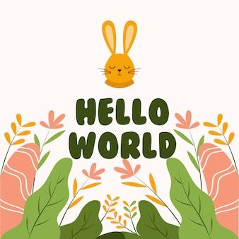 Cabeça de coelho fofo dizendo olá mundo plana ilustração vetorial