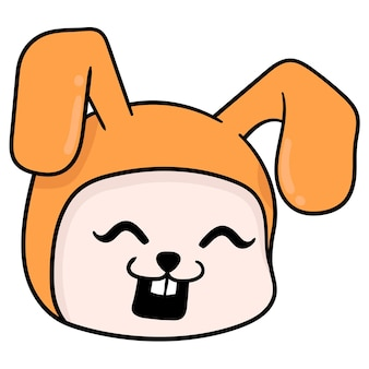 Cabeça de coelho laranja rindo alegremente, emoticon de caixa de ilustração vetorial. desenho do ícone do doodle