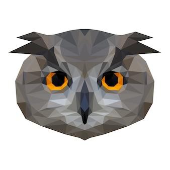 Cabeça de coruja abstrata. retrato de coruja low poly.