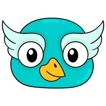 Cabeça de coruja azul com lindos olhos grandes, emoticon de caixa de ilustração vetorial. desenho do ícone do doodle
