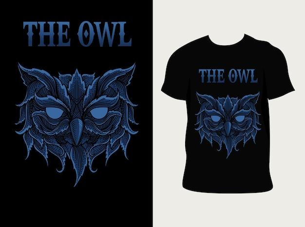 Cabeça de coruja com design de camiseta
