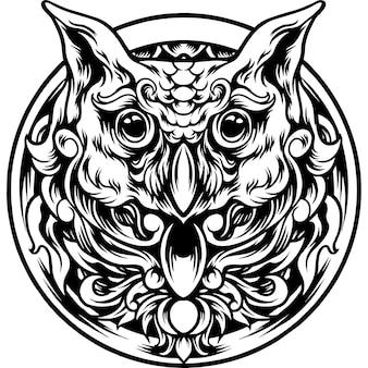 Cabeça de coruja com ornamento de silhueta